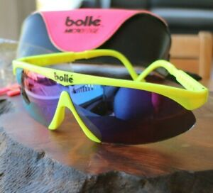Vintage Bolle Micro Edge Sunglasses Fluorescent Neon Yellow Clear Hot Pink Case
