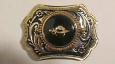 Vintage new old stock Gold & black  Belt Buckle w/39mm SHRINER emblem black