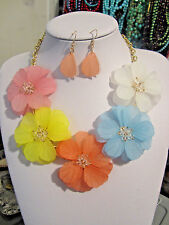 Multi Color Acrylic Flower Floral Clear Faceted Glass Bead Necklace earring Set