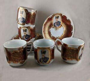 Antique Rare Naser Al Din Shah Qajar Demitasse Cups And Saucers (5 sets)