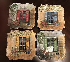 4 RUE de PARIS Floral Window Sills Square Scalloped Deep Plates Handpainted NEW