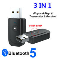 3 in1 USB Bluetooth 5.0 Audio Transmitter Receiver Adapter for TV PC Car AUX EN