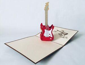 E-Gitarre, 3D-Klappkarten, Pop-up Karten, Glückwunschkarte, Grußkarte,