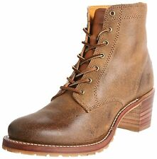 Women's Frye Boots Sabrina 6g Lace Up Work Boot Brown Tan Oiled Suede 77591 Tan