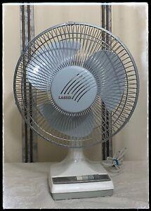 VIntage Lasko 12-1 Oscillating 3 Speed Desk Fan White with Gray Blades