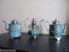 MUSEUM QUALITY Lot of 3 Jade ANTIQUE TIBETAN TEAPOTS Cloisonne Silver plated