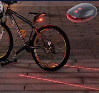 Rear Tail Flashing Safety Warning Lamp Night 5 LED & 2 Laser Bike Bicycle Light