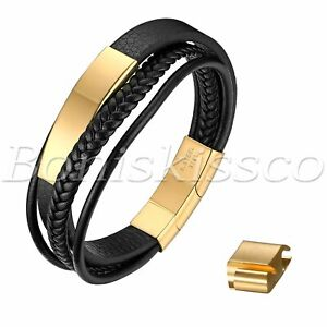 Men's Adjustable Braided Leather Straps Magnetic Cuff Bracelet Free Engraving