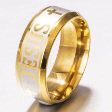Men Women Jesus Cross Prayer Band Ring Christian Fashion Alphabet Wedding 8mm
