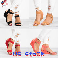 Women's Sandals Summer Buckle Ankle Strap Ladies Wedges Pumps Shoes Open Toe US