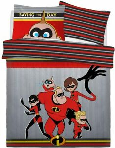 Disney Incredibles Saving The Day Rotary Double Bed Duvet Quilt Cover Set Gift