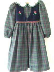 Girls party dress Age 7 (122cm) Sarah Louise, Plaid material, hand smocked