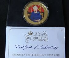 2016 GOLD PLATED PROOF 65mm 110grams NINE $2 COIN + COA QUEENS 90th BIRTHDAY