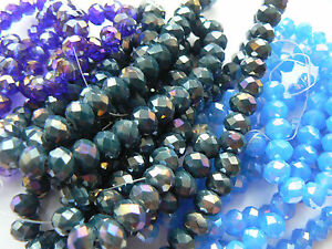 Beads Faceted Glass Shiny 'Donut' Shaped - Choose your Colour & Size x 1 Strand