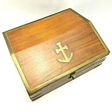 More details for vintage wood and brass nautical navy anchor box - 22cm by 19cm by 9cm