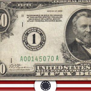 1928 $50 BOSTON FRN *NUMERICAL* VF Fr 2100-A
