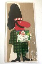 "Vintage 8"" Stand Up SCOTTISH HIGHLANDER Card &1968 Christmas Calendar Santa NOS"