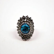 Silver Alloy Crystal Baby Blue Topaz Gemstone Women's Jewelry Fashion Ring