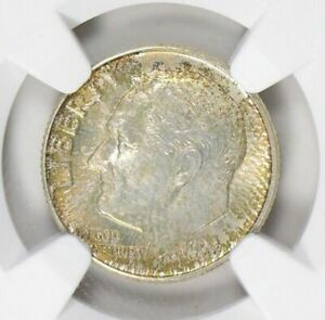 1957-D ROOSEVELT DIME NGC MS67 BU TONED COIN IN HIGH GRADE