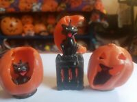 Lot Of 3 Vintage Halloween Gurley Cat Candles