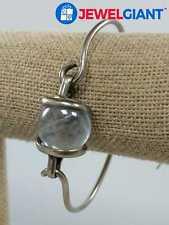 "Bangle Hook Clasp 16Mm Width #bn566 Sterling Silver 925 Blue Stone Bracelet 7.5"""