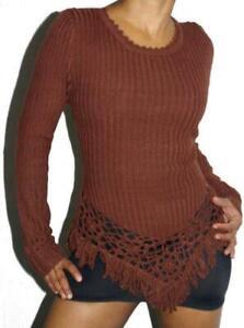Designer Pullover / Sweatshirt mit Häkelmuster Stretch