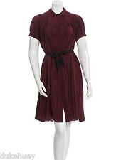 MAYLE BURGUNDY SILK ACCORDION PLISSE PLEATS DRESS W/ SASH RUNS BIG 4 fits S M L