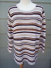White Stag Womens Ribbon Knit Sweater Sz XL 16 18 Beige Brown White Striped Top