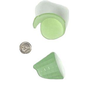 URANIUM GLASS Tumbled Sea Glass UV Glow 2 Pieces, Drinking Glass Bottom, Lip