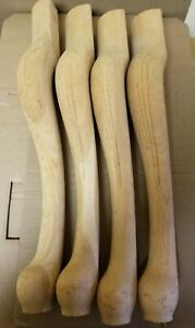 """Unfinished Queen Anne Style Wood Furniture Table Legs 21.5"""" Tall 4 Legs"""