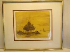 "Thomas Point Light House Color Etching By Artist J.R.Smith, 16/35, 11""x 9"", Nice"