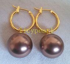 pair of 14mm coffee shell pearl earrings