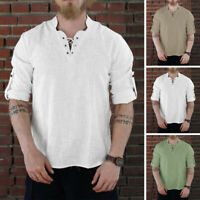 Men Medieval Pirate Cosplay Shirt Long Sleeve Lace up Bandage Shirts Blouse Top