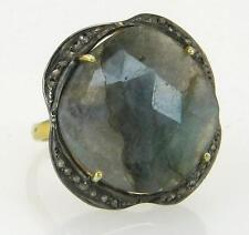 Affordable Fashion 14.54ct Labradorite & Genuine Rose Cut Diamond 18k 925 Ring