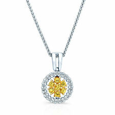 18K Two Tone Gold Yellow Sapphire Diamond Circle Pendant Necklace Round Cluster