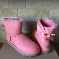 UGG MINI BAILEY BOW II LANTANA PINK WATER-RESISTANT SUEDE BOOTS SIZE 11 WOMENS
