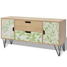 Brown Sideboard Living Room Steel Storage Drawers Doors Side Cabinet Furniture