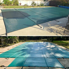 Swimming Pool Cover Green Pool Safety Rectangle Inground 16X32 Ft w/Center Step
