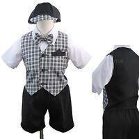 Black Baby Boy Toddler Wedding Formal Shorts Vest Set Suit Checks Gingham S - 4T