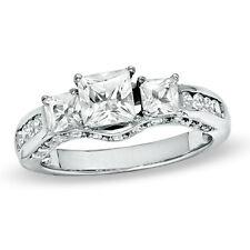 WHITE SAPPHIRE PRINCESS WEDDING ANNIVERSARY  ENGAGEMENT BAND RING SZ 7 + GIFT