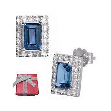 1.30 ct London Blue Topaz Sterling Silver Stud Earrings