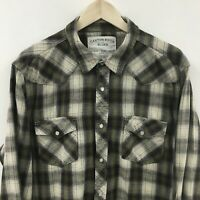 Mens XL CANYON RIVER Western Pearl Snap Plaid Flannel Shirt 33c