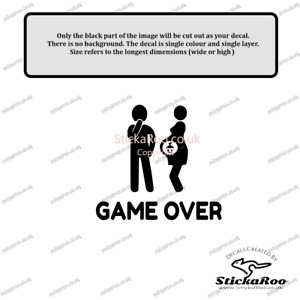 GAME OVER Pregnant car vinyl decal vehicle bike graphic bumper sticker funny