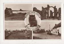 Good Luck From Holy Island 1953 RP Postcard Black Cat 897a