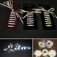 1 pair 1m Flat Reflective Runner Shoe Laces Safety Luminous Glowing Shoelaces
