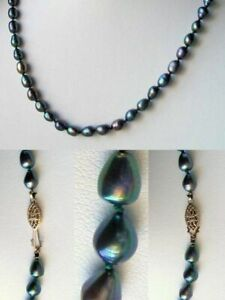 Fab Blue Peacock Freshwater Pearl & 14Kgf 26 inches Strand/String Necklace 9811