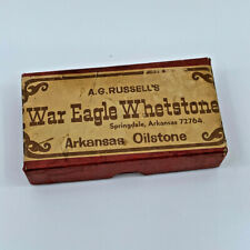 Vintage AG Russell War Eagle Whetstone Arkansas Oilstone with Instructions & Box