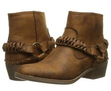 New In Box Women's XOXO Glorius Shoes Tan Western Ankle Boots Block Heel Size 7