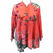NEW NWT Citron Clothing Plus Size Coral Pink Birds Cotton Silk Blend Blouse 3X