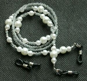 Spectacle/Sun glasses Chain/Cord White Glass Faux Pearl Beads CLGC12